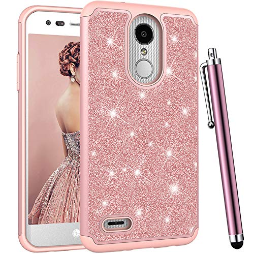 CAIYUNL for LG Aristo 2 Case, LG Zone 4, LG Tribute Dynasty, LG Fortune 2,LG Aristo 2 Plus,Risio 3,K8 2018, Luxury Bling Glitter Women Girls Shockproof Protective Dual Layer Hard Cover (Rose Gold) (Verizon Lg Phone Cases For Girls)