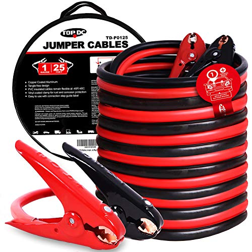 (TOPDC Jumper Cables 1-Gauge 25-FT 700Amp Heavy Duty Booster Cables with Carry Bag (1AWG x 25') )