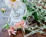 Clear Glass Look Acrylic Engagement Ring Bearer Box Holder, Custom Modern Wedding Rings Box, Geometric Minimalist or Rustic Ring Holder