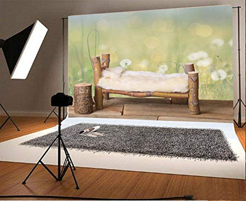 SZZWY 5x3ft Vinyl Photography Backdrop Newborn Bed Maple Tree Branches with Dandelion Green Meadow Nature Scene Photo Background Children Baby Adults Portraits ()