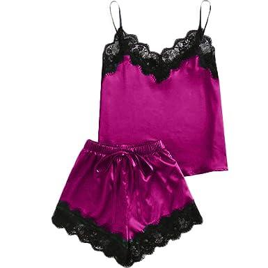 e3c015a9a3688 POQOQ Sleepwear Women Sleeveless Strap Nightwear Lace Trim Satin Top Pajama  Sets XS Hot Pink