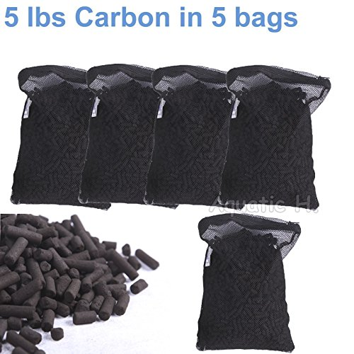 Activated Charcoal Carbon in 5 Mesh Bags for Aquarium Pond Canister Filter 5 LBS
