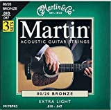 Martin M170 80/20 Acoustic Guitar Strings, Extra Light 3 Pack, Best Gadgets
