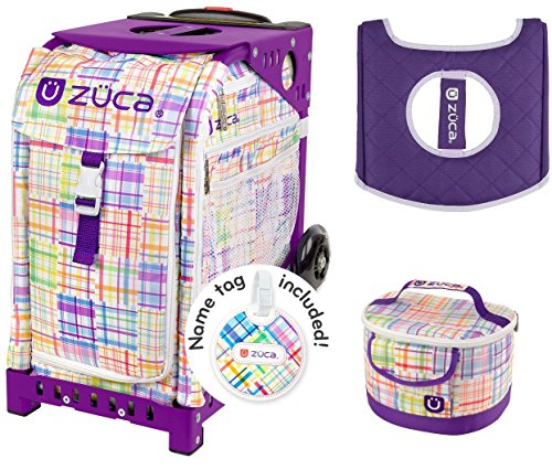 Zuca Sport Bag -Patchwork with Gift Lunchbox and Seat Cover (Purple Frame) by ZUCA