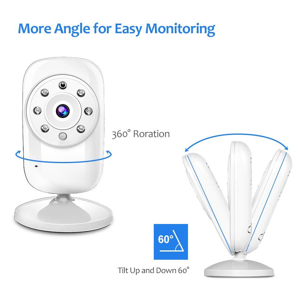TOPERSUN Baby Phone Baby Monitor 2.4 GHz Baby Kamera mit LCD Nachtsichtkamera HD Digital Video /& Bidirektionale Intercom-Funktion