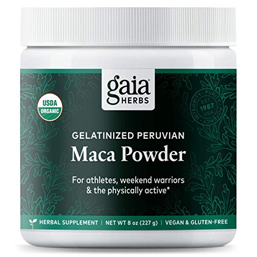 Gaia Herbs Organic Maca Powder, 8 Ounce - Peruvian-Grown Superfood Supports Energy, Stamina, Healthy Libido, Hormone Balance - Gelatinized, Vegan