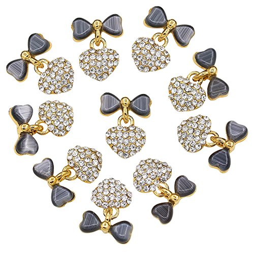 10x Alloy 3D Crystal Rhinestones Bow Tie Heart Nail Art Glitters DIY Decoration Gift (Grey)