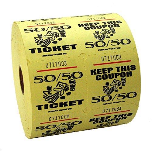 Yellow 50/50 Raffle Tickets : roll of 1000