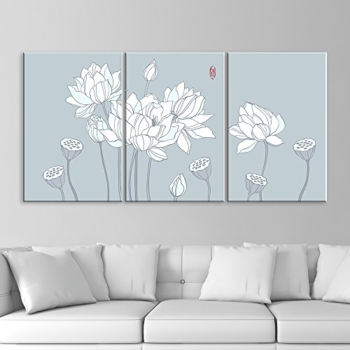 3 Panel Drawing of White Lotus Flowers x 3 Panels
