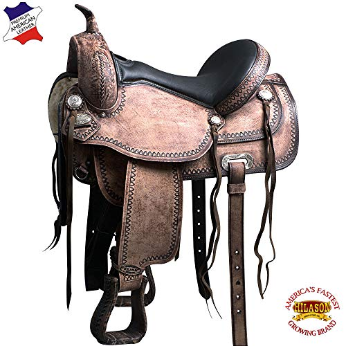 "HILASON 15"" Western Horse Saddle American Leather Flex Tree Trail"