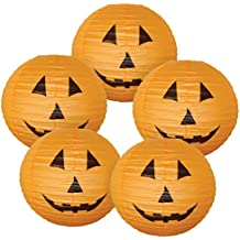 "Just Artifacts 16"" Orange Halloween Pumpkin Paper Jack-O'-Lantern/Lamp 16"" Diameter (Set of 5, 16inch, Orange Paper Jack-O'-Lantern) - Just Artifacts Brand"