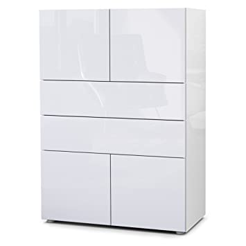 Vladon Kommode Sideboard Massa V2 Korpus In Weiss Hochglanz Front In
