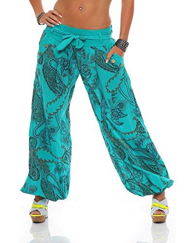 Con Cotone Unica Bloomers Pantaloni Zarmexx Cintura Stampati Turchese Ladies In Taglia Summer f0x4Sq
