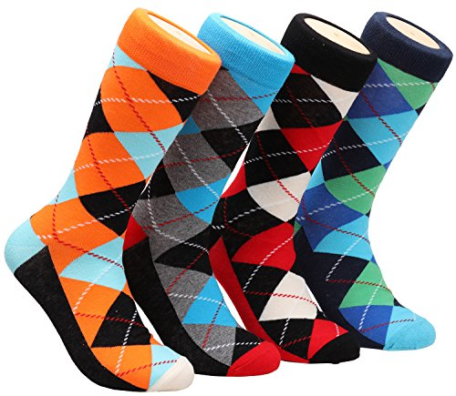 Galsang 4 Pack Cotton Argyle Business Trouser Dress Socks For Men Size 6-13 A301 (mixed color)