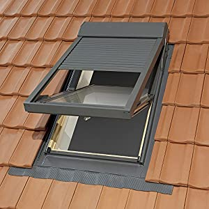 plastic roof window with electric roller shutter and with. Black Bedroom Furniture Sets. Home Design Ideas