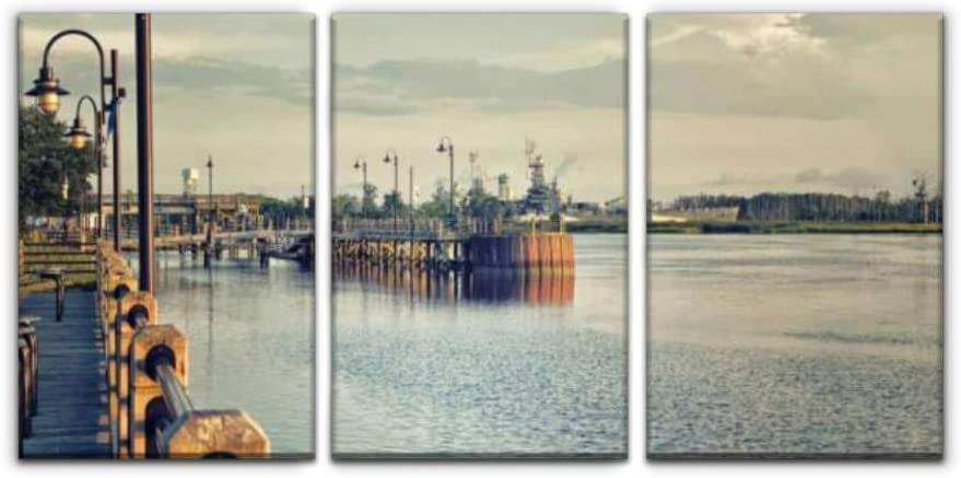 """Modern Canvas Painting a view from the riverwalk, wilmington nc wilmington stock pictures, Wall Art Artwork Decor Printed Oil Painting Landscape Home Office Bedroom Framed Decor (16""""x24""""x3pcs)"""