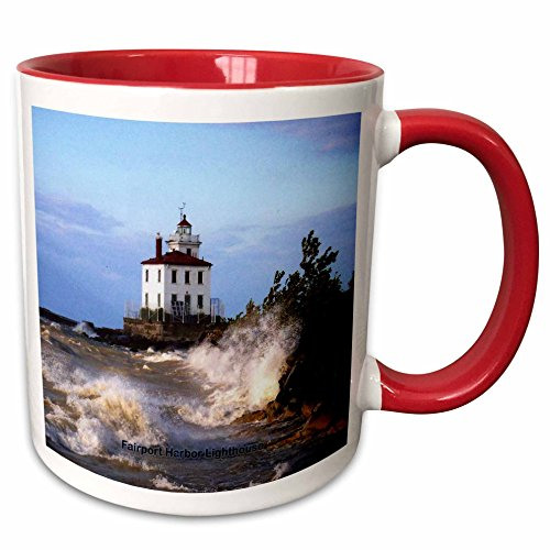 Fairport Harbor Lighthouse (3D Rose 61705_5 Fairport Harbor Lighthouse Looking Over Lake Erie Two Tone Ceramic Mug, Red)
