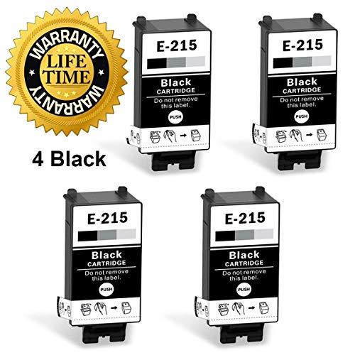 Remanufactured 215 Black Ink Cartridges Replacement for WF-100 Printer (4 Black, Pigment Ink)
