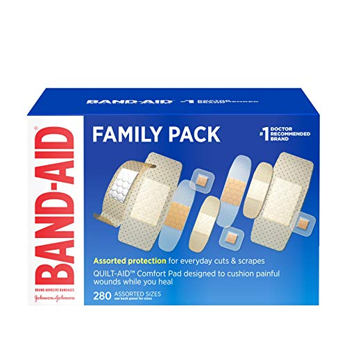 Band-Aid Brand Adhesive Bandage Family Variety Pack, Sheer and Clear Bandages, Assorted Sizes, 280 ct