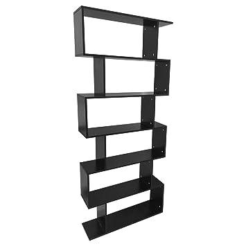 6 Tier Bookshelf,75.6u0026quot; Tall Wooden Bookcase Storage Unit Modern  Display Shelf Cabinet