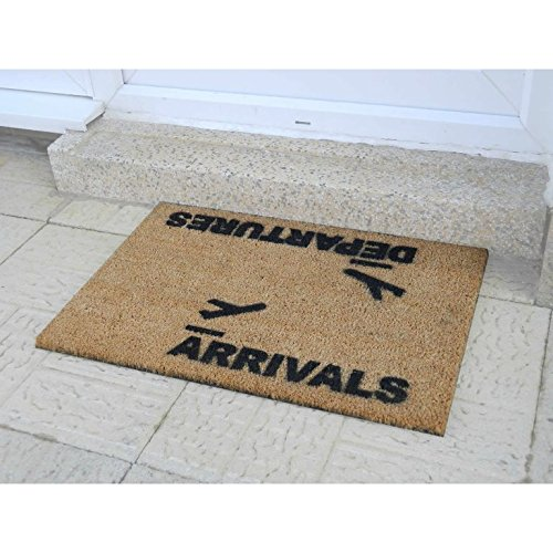 CKB Ltd Arrivals And Departures Airport Novelty Doormat Unique Doormats Front/Back Door Mats Made With A Non-Slip Pvc Backing - Natural Coir - Indoor & Outdoor