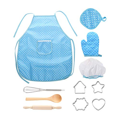 XINdream Kids Chef Role Play Costume Set,11 Pcs Cooking Play Set Chef Hat Manual DIY Baking Tools for Toddler Career Role Play Children Pretend Play Children Gift -