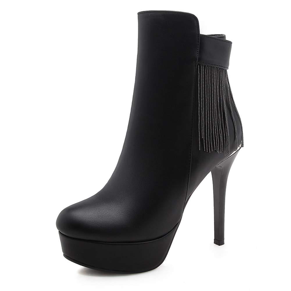HOESCZS Neue Plus Plus Plus Größe 32-42 Reißverschluss Fransen Frauen Stiefel Frau Schuhe dünne High Heels Plattform Stiefeletten Schuhe Frau, e5e173