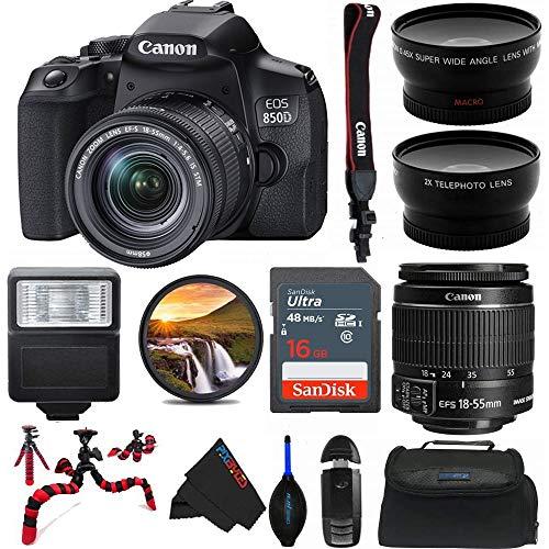 Canon EOS 850D DSLR Camera w/Canon EF-S 18-55mm F/4-5.6 is STM Lens + Pixibytes Pro Bundle