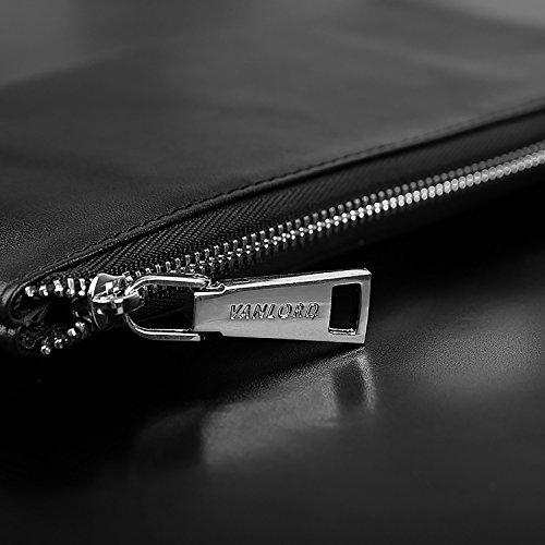 ZXDOP Brieftasche Männer Leder Brieftasche Retro Herren Lange Reißverschluss Herren Leder Brieftasche