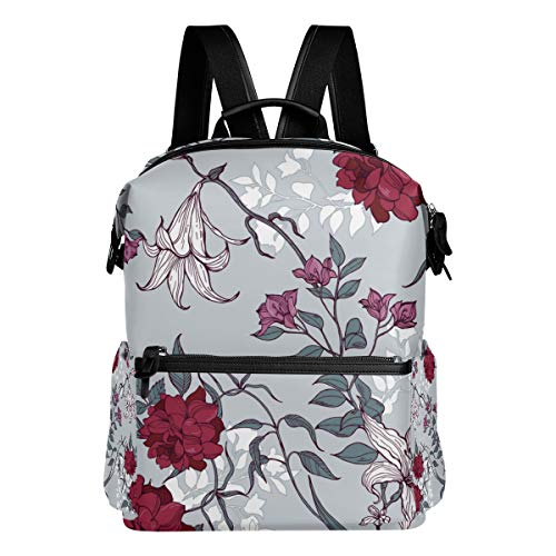 TARTINY Roses Lilies Leaves Floral Pattern On Laptop Backpack Leather Strap School Bag Outdoor Travel Casual Daypack