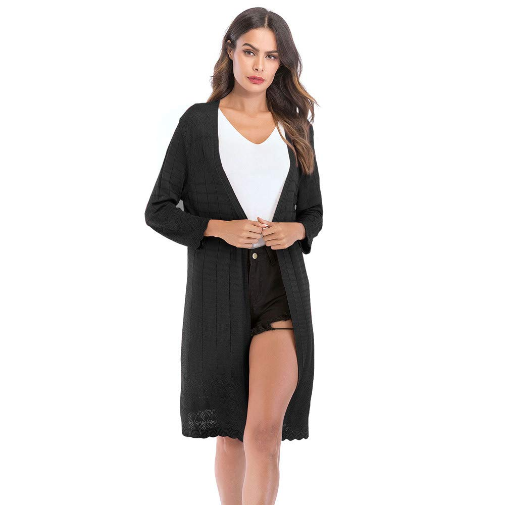Womens Top!!JSPOYOU Long Sleeve Openwork Sweater Solid Color Drape Loose Gradient Knit Cardigan Retro Coat