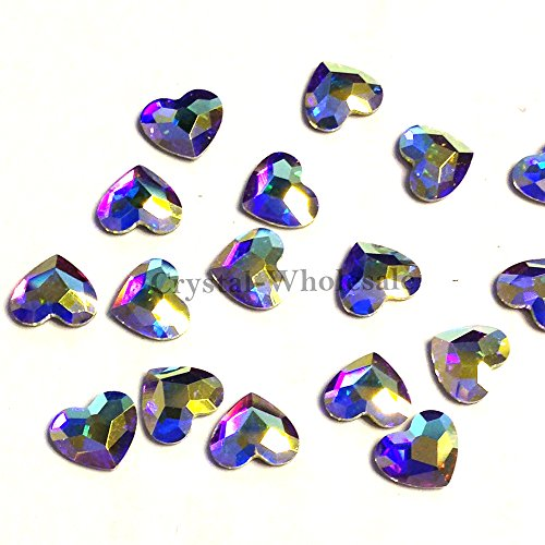 CRYSTAL AB (001 AB) Swarovski 2808 Heart - 6mm Flatbacks No-Hotfix Rhinestones 8 pcs from Mychobos (Crystal-Wholesale)
