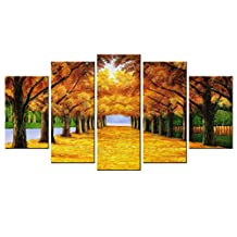 VVOVV Wall Decor - 5 Panel Giclee Landscape Canvas Prints Gold Autumn Maple Wall Poster Home Decor Living Room Modern Painting On Art Modular Picture 60x32inch,with frame