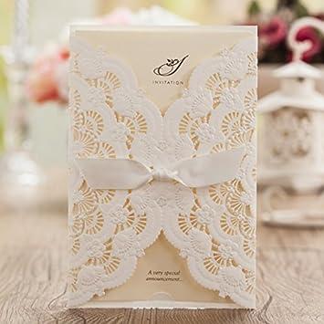 Wishmade 50x elegant white laser cut wedding invitations cards kits wishmade 50x elegant white laser cut wedding invitations cards kits with lace and hollow flowers card stopboris Image collections