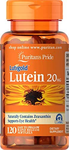 Puritans Pride Lutein 20 mg with Zeaxanthin Softgels, 120 Count