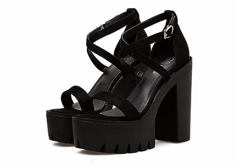 GTVERNH Scarpe da donna/scarpe estive/Parola Di 13 Cm Cintura Scarpe Con Tacchi Alti Secondo Le Scarpe Con I Tacchi Gonna Scarpe…