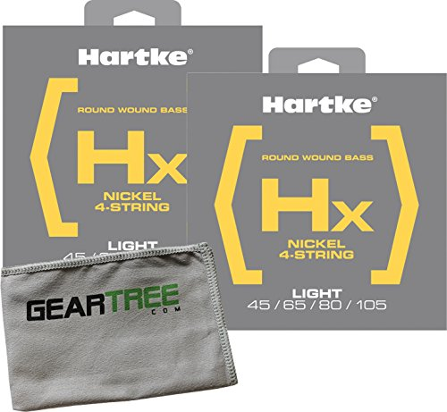 Hartke Electric Bass Guitars (2 Pack of Hartke BHX445 Light, Nickel, Round Wound 4 String Bass Set (45, 65, 80, 105) and Geartree Cloth)