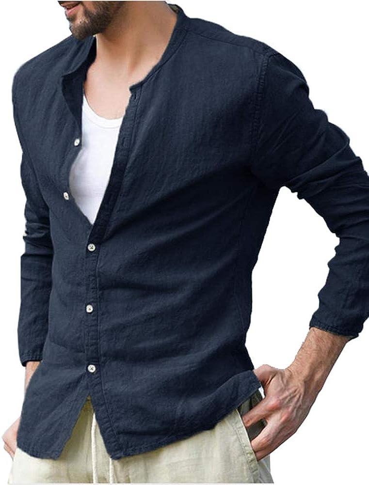 Kedera Mens Long Sleeve Linen Cotton Band Collar Shirt Loose Fit Beach Shirts