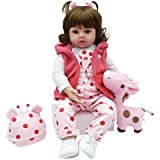 Yesteria Realistic Reborn Toddler Baby Doll Girl Silicone Pink Outfit White Shoes with Toy Giraffe 24 Inches