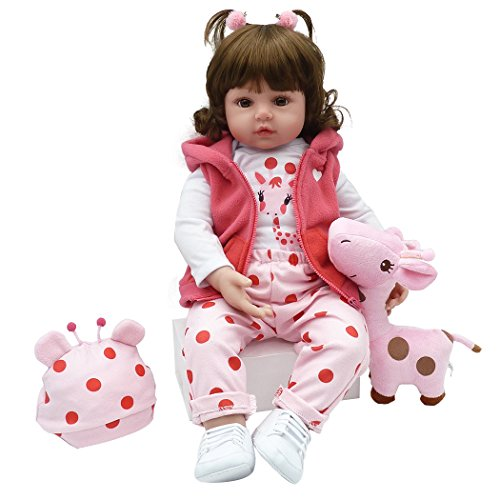 Yesteria Realistic Reborn Toddler Baby Doll Girl Vinyl Pink Outfit White Shoes 24 Inches (Best Dolls For Toddlers)