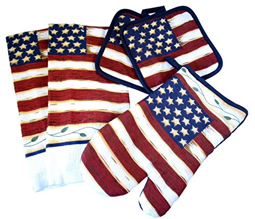 American Flag Kitchen Gift Sets - Pot Holders, Oven Mitts, and Kitchen Dish Towels (Tea Stained American Flag) ()