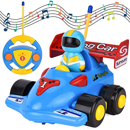 (FILWO RC Cartoon Car, Remote Control Car Music Radio Control Car Easy Control Toy Car Baby Race Car Birthday for Toddlers Children 3 Year Old Musical Toy Play Vehicle (Blue)