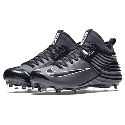 Nike Lunaire Trout 2 Métal Pointes De Baseball Chaussures Noir Noir Gris Hommes Taille 8,5
