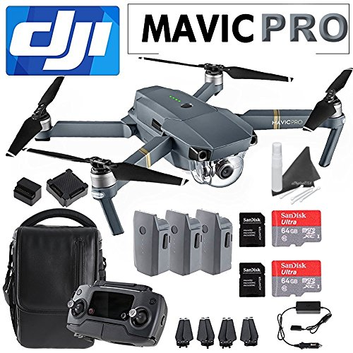 DJI Mavic Pro Collapsible Quadcopter Travelers Combo: Includes 3 Batteries, 2 SanDisk 64GB MicroSD Cards, eDigitalUSA Cleaning Kit & eDigitalUSA Microfiber Cleaning Cloth