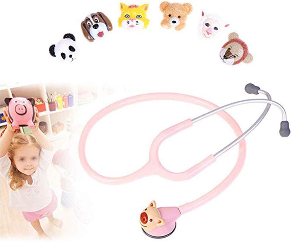 WSN Estetoscopio de Doble Cabeza Estetoscopio pediátrico, médico único Ultraligero para monitorización cardíaca de Primeros Auxilios con 6 Cabezas de Animales,Rosado