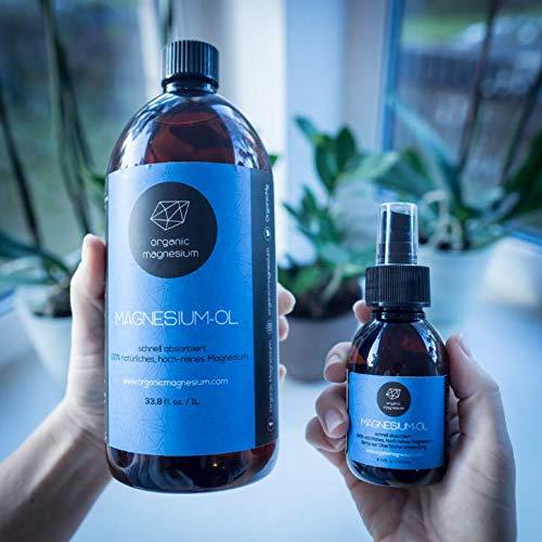 Spray de aceite de Magnesio ultra puro de Organic Magnesium, aceite de Zechstein puro 100% natural, perfecto para deportes y masajes, botellas de 1000 ml + ...