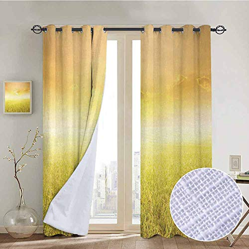 "NUOMANAN Thermal Insulated Blackout Curtain Yellow,Rice Field Farm and Sunset Countryside Agriculture Sunlight Evening Cloudscape,Yellow Beige,Blackout Draperies for Bedroom Living Room 54""x84"""