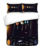 3Pcs Duvet Cover Set,Outer Space Decor,Detailed Solar System with Scientific Information Jupiter Saturn Universe Telescope Print,Multi,Best Bedding Gifts for Family/Friends