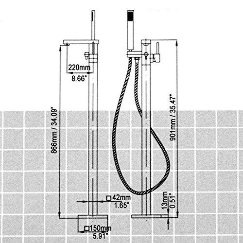 JiaYouJia Brushed Nickel Freestanding Tub Filler Floor Standing Bathtub Faucet (Brushed Nickel) by JiaYouJia
