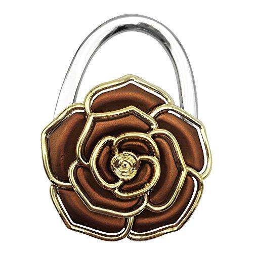 JewelBeauty Rose Flower Shaped Folding Handbag Purse Bag Hanger Table Hook Holder Home Decoration (brown)